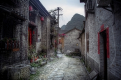 Traditional Village surrounded by mountains